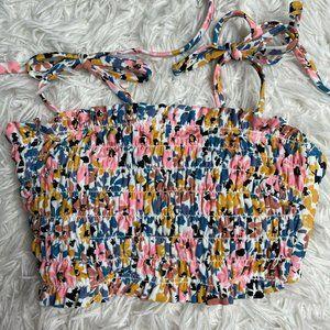 New Xs 00 Xhilaration Smocked Floral Tie Back Mult